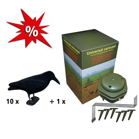 10 Lockkrähen + Magnet für Krähen & Tauben